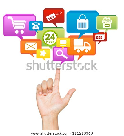 Hand With E-Commerce Icon Above For E-Commerce Concept Isolate on White Background - stock photo
