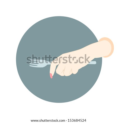 hand with empty fork - stock photo