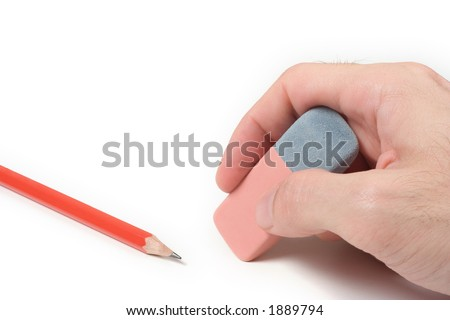 Hand with eraser and pencil over a white background - stock photo