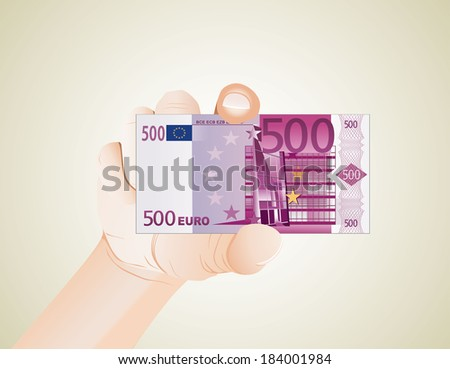 hand with euro - stock photo