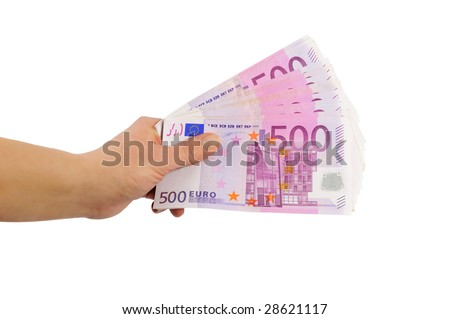 hand with 500 euro banknotes (isolated)