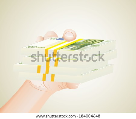hand with euro bills - stock photo