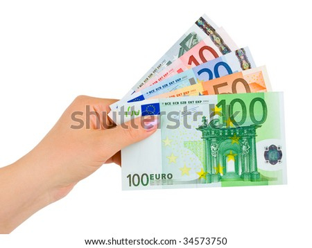 Hand with euro money isolated on white background