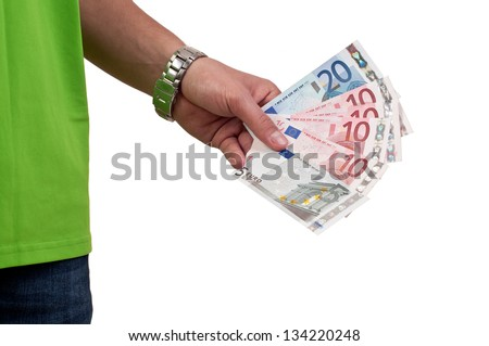 hand with euros  money isolated on white background - stock photo