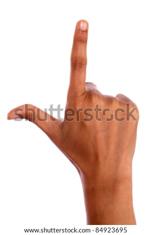 Hand with finger up isolated on white - stock photo