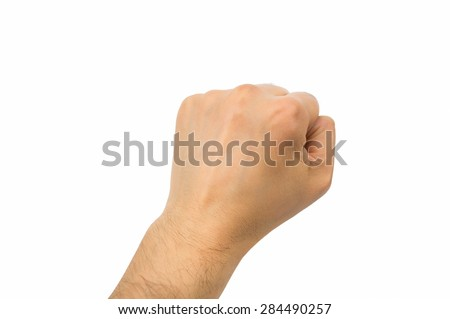 hand with fist above on white background