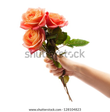 Hand with flowers.