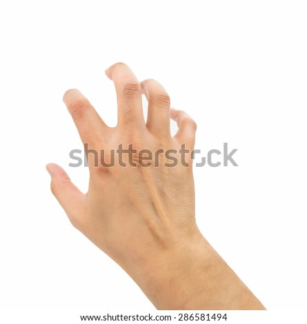hand with gesture of clawing on white background - stock photo