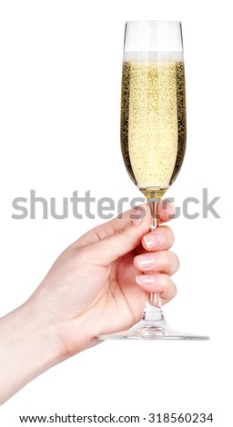 Hand with glass of champagne isolated on a white background - stock photo