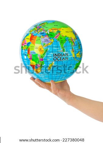 Hand with globe isolated on white background