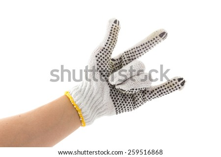 hand with glove is rock and love sign on white background - stock photo