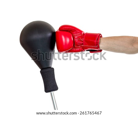 hand with glove punch a punching ball, hook position