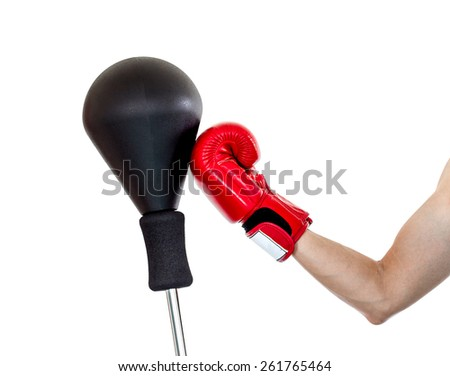 hand with glove punch a punching ball, upper cut position - stock photo