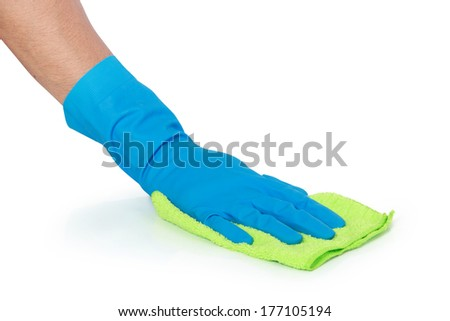 hand with glove using cleaning mop to clean up the floor - stock photo