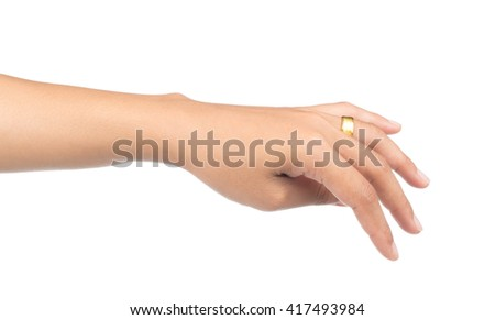 hand with golden ring isolated on white background