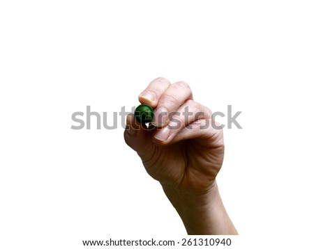 Hand with green marker on transparent whiteboard - stock photo