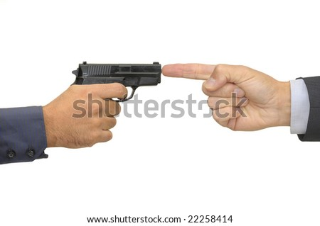 Hand with gun isolated in white