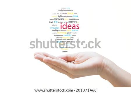 Hand with idea bulb concept  - stock photo