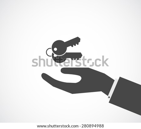 hand with keys black icon design - stock photo