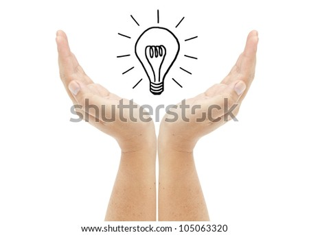 Hand with lightbulb isolated on white background - stock photo