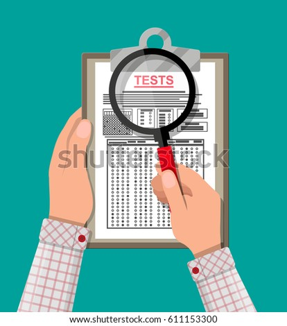 Hand with magnifying glass holding clipboard with exam test answer sheet. Flat style illustration