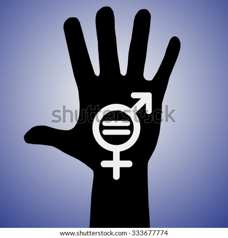 Hand with Male and Female Symbol, Gender Equality, Human Rights - stock photo