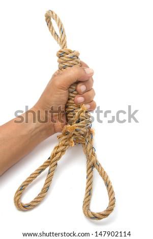 hand with manila rope  - stock photo