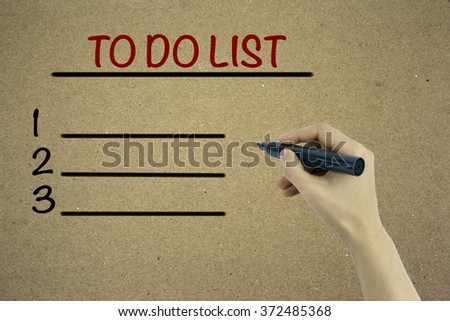 Hand with marker. Blank TO DO LIST, business concept, chart, diagram, presentation background - stock photo