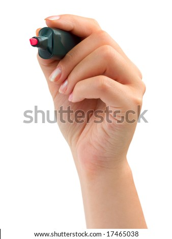 Hand with marker isolated on white background - stock photo