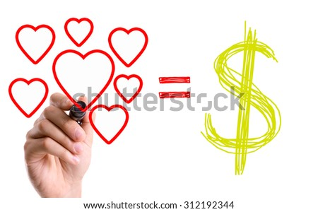 Hand with marker with the message Love = Money - stock photo