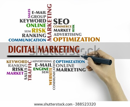 Hand with marker writing - Digital Marketing word cloud, Business concept - stock photo