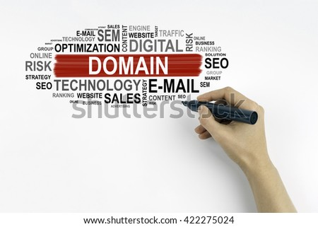 Hand with marker writing - Domain, Business concept - stock photo