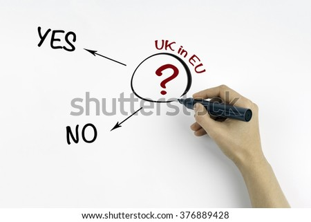 Hand with marker writing question about UK in EU - stock photo