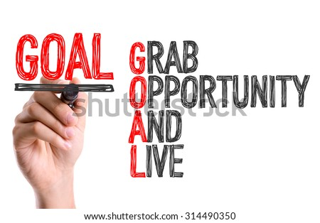 Hand with marker writing the word Goal Acronym - stock photo