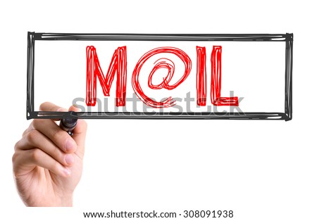 Hand with marker writing the word Mail - stock photo