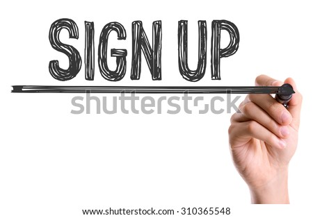 Hand with marker writing the word Sign Up - stock photo