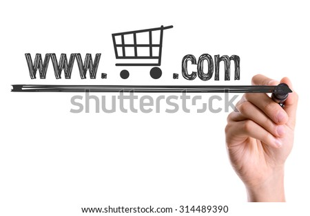 Hand with marker writing the word www. Shop Icon .com - stock photo