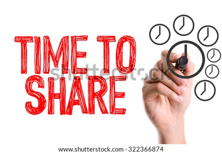 Hand with marker writing: Time To Share - stock photo