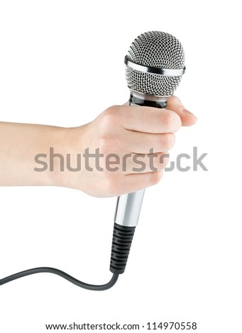 Hand with microphone on white background