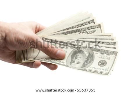 hand with money - stock photo