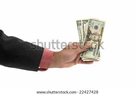 Hand with money isolated in white