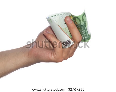 Hand with money isolated on white