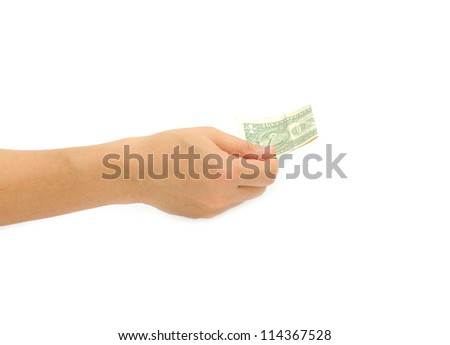 Hand With Money Isolated white background