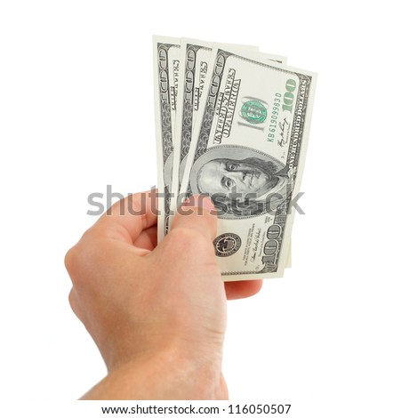 hand with money more hundred dollars isolated on white background