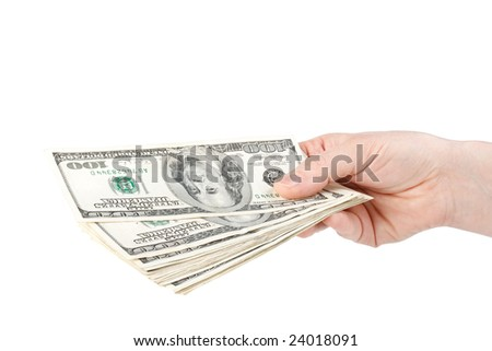 Hand with money  on a white background