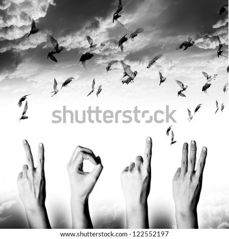 hand with new year 2013 abstract with doves flying on sky and cloud, black and white background