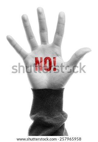 Hand with no text is isolated on white background. - stock photo