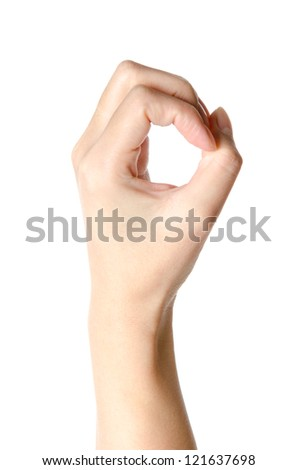 hand with number zero isolated - stock photo