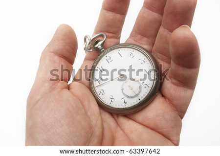hand with old clock