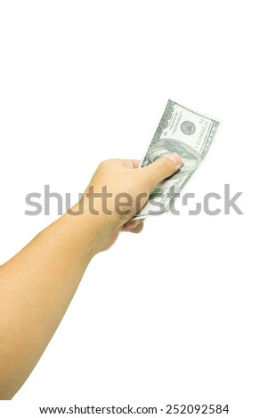 Hand with One hundred US dollar isolated on white background - stock photo